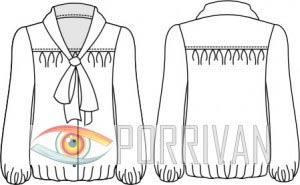 Выкройка блузки с бантом