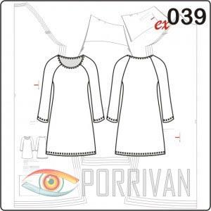 Выкройка платья с длинным рукавом