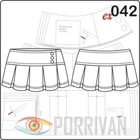Выкройки короткой юбки в складку