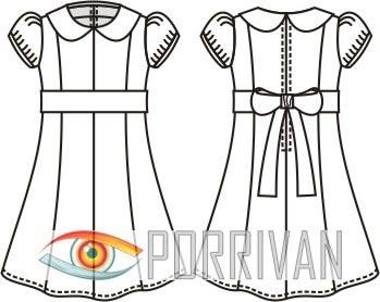 Выкройка детского платья с рукавом