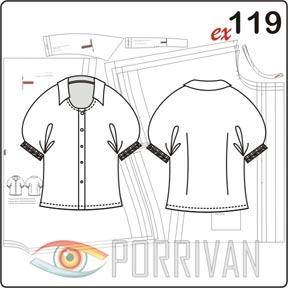Выкройка блузки с цельнокроеным рукавом