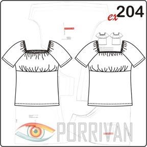 Выкройка блузки с рукавом реглан