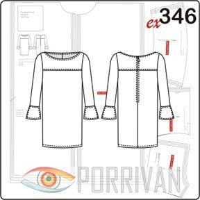 выкройка прямого платья с рукавами