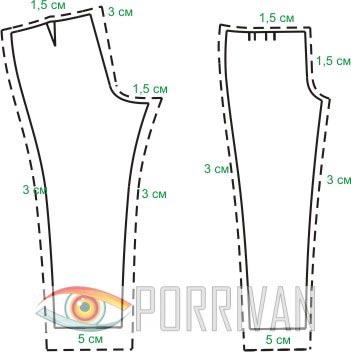 Готовые выкройки: припуски при кройке деталей брюк