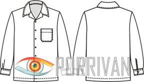 Выкройка мужской рубашки с длинными рукавами и карманом