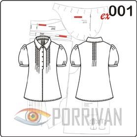 выкройка блузки с фонариками и защипами