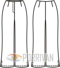 Выкройка укороченных летних брюк с шлицами