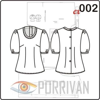 Выкройка блузки с короткими рукавами фонарик
