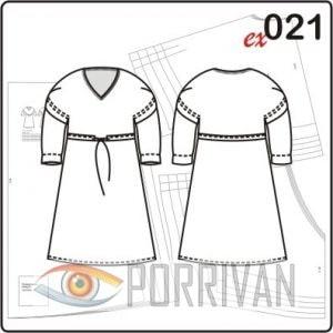 Выкройка платья с цельнокроеным рукавом
