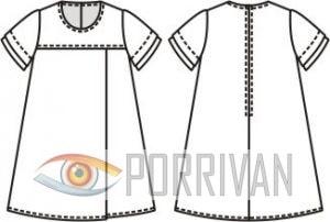 Выкройка расклешённого платья для девочки 7, 8, 9, 10 лет