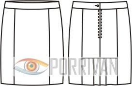 Выкройка прямой юбки с оборкой со складками