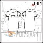 Выкройка платья из трикотажа с короткими рукавами и воротником стойкой