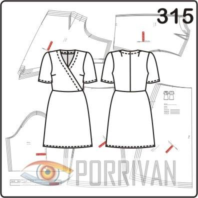 Выкройка платья с отрезной юбкой по косой