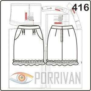 Выкройка короткой юбки карандаш с рюшем