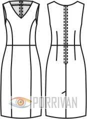 Выкройка прилегающего платья без рукавов с V-образным вырезом