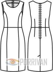 Выкройка прилегающего платья без рукавов с полукруглым вырезом