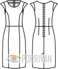 Выкройка прилегающего платья с рукавами крылышками