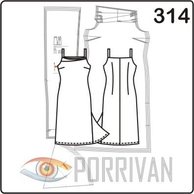 Выкройка платья для коктейля на тонких бретелях с наклонными складками горловины