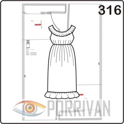Выкройка платья с оборками на плечах и по низу