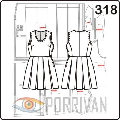 Выкройка платья из льна с встречными складками юбки