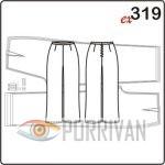 Выкройка прямых брюк без пояса, построение для размеров 44, 46, 48, 50