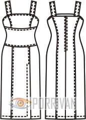 Выкройка приталенного платья на широких бретелях