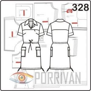 Выкройка прямого платья с внутренним карманом