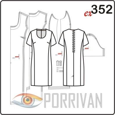Выкройка приталенного платья с короткими рукавами для полных