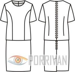 Выкройка платья имитирующего костюм для полных