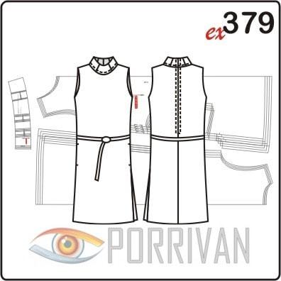 Выкройка приталенного платья из трикотажа с воротником стойкой
