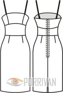 Выкройка приталенного платья на бретельках