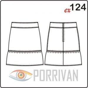 Выкройка юбки с рюшем. Размеры 42, 44, 46, 48, 50, 52.