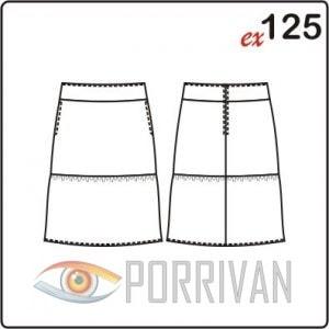 Выкройка двухярусной юбки. Размеры 42, 44, 46, 48, 50, 52.