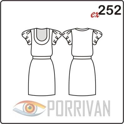 Выкройка короткого платья с рукавом фонарик и бейкой горловины