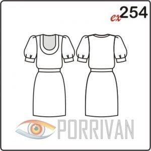 Выкройка платья с широким рукавом с манжетой