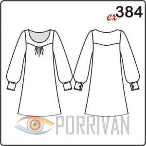 Выкройка короткого платья с длинными рукавами с манжетами