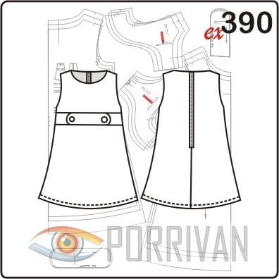 Выкройка платья для девочки без рукавов с патами. Возраст от 3 до 5 лет.