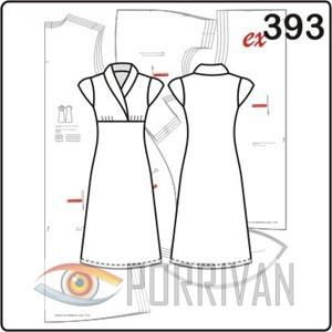 Выкройка платья с воротником шаль и короткими рукавами