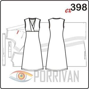 Выкройка платья из трикотажа с оригинальной горловиной