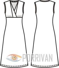 Платье из трикотажа с оригинальной горловиной без рукавов. Выкройка для размеров 44, 46, 48, 50.