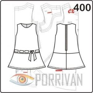Выкройка детского платья с отрезной юбкой и тесьмой. Возраст 3, 4, 5 лет.