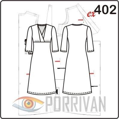 Выкройка платья с эффектом запаха и рукавами ¾. Размеры 44, 46, 48, 50.