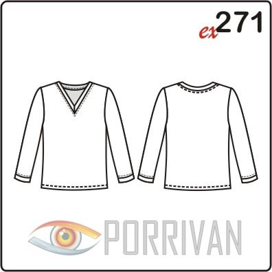 Выкройка простой блузки с V вырезом. Размеры 44, 46, 48, 50, 52, 54.
