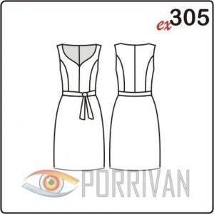 Выкройка платья без рукавов с фигурным вырезом