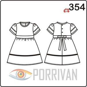 Выкройка платья с рукавами фонарик для девочки 2-8 лет