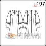 Выкройка платья с длинным свободным рукавом