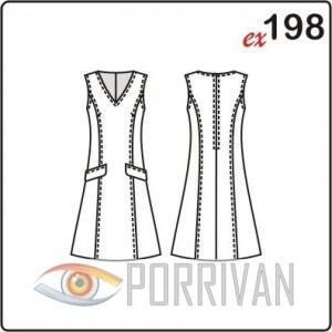 Выкройка прилегающего платья без рукавов с клапанами и рельефами