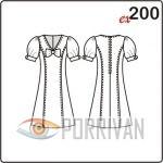 Выкройка прилегающего платья с рукавами фонарик