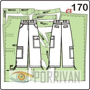 выкройка прямых брюк длиной ¾