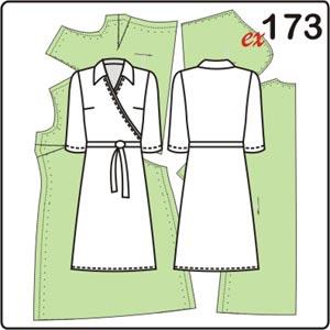выкройка трикотажного платья с имитацией запаха